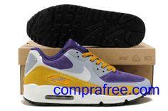 Comprar barato hombre Nike Air Max Zapatillas (color:blanco,gris,amarillo,purpura) en linea en Espana. Air Max 90, Nike Air Max, Air Max Sneakers, Sneakers Nike, Zapatillas Nike Air, Color, Shoes, Fashion, Yellow