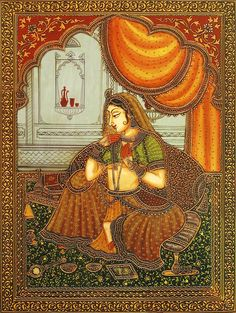 The Rajput Princess Adorning Herself (Reprint on Paper - Unframed) Rajasthani Miniature Paintings, Rajasthani Painting, Rajasthani Art, Mughal Paintings, Indian Art Paintings, Madhubani Painting, Dance Paintings, Phad Painting, Indian Traditional Paintings