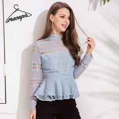 3ab08f0ea35d8 Gracegirl 2018 Spring Women Blouse Shirt Series High Collar Lace Hollow Out  Sexy Blusas Peplum Back