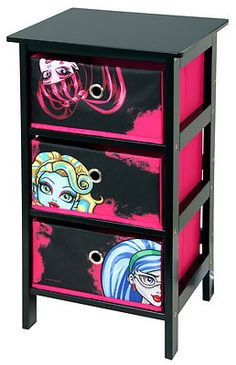 Monster High 3 Drawer Black And Pink Bedroom Storage Unit By Mattel  *EXCLUSIVE