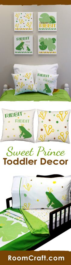 Prince of the amphibians! This adorable frog design is available on throw pillows, canvas wall art, and toddler bedding. They are perfect for a complete room make over or choose one or two to add the finishing touches to your little one's frog themed bedroom. Make decorating fun and easy with these cute home decor products. #roomcraft