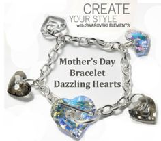 Swarovski crystal hearts for DIY mother's day jewelry