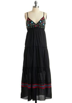Outdoor Art Market Dress - Black, Red, Green, Blue, Pink, Solid, Embroidery, Casual, Boho, Empire, Maxi, Spaghetti Straps, Spring, Summer, Long