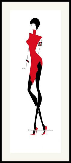 Fashionista 3 is part of a series of four fashion illustrations in black and red. Photos Corps, Surfboard Painting, Rooster Painting, Easy Canvas Painting, Illustration Mode, Digital Art Girl, Silhouette Art, Black Stockings, Black White Red