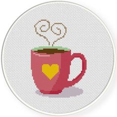 Coffee Love Cross Stitch Illustration