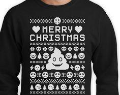 Emoji Ugly Christmas Sweater Funny Holiday Men