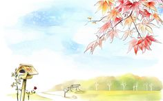 Art Drawing : Romantic Scene of the Seasons  1920*1200   Wallpaper 24