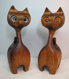 Mid Century Modern Pair Hand Crafted Wooden Cats Witco Tiki ornate detailing McM #Witco