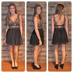 Cheetah v-neck top and tulle bottom dress $59