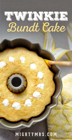 Homemade Twinkie Bundt Cake – This easy bundt cake recipe tastes and looks like a giant Twinkie! A super easy and yummy dessert. Cute for a birthday party, baby shower, Easter, or just for fun! More from my siteTwinkie Bundt Cake