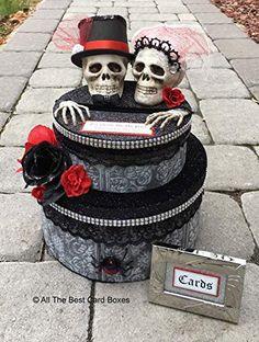 Halloween Bride, Halloween Weddings, Halloween Party, Halloween Wedding Flowers, Gothic Wedding Invitations, Halloween Wedding Invitations, Gothic Wedding Rings, Skull Wedding, Gift Table Wedding