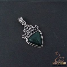 GREEN AGATE GEMSTONE VINTAGE SILVER PLATED NECKLACE PENDANT JEWELRY ZB5000056 #ZL #BRACELET