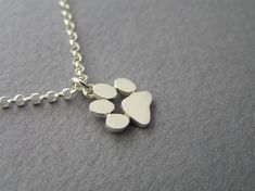 Paw Print Necklace Pendant - Sterling Silver - Cats and Dogs Paws - Hand Cut - Animal Jewelry
