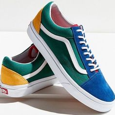 Vans Old Skool Yacht Club Yellow Blue Green and Red Colorblocked Multi-Color Yellow Vans, Red Vans, Vans Old Skool, Boys Shoes, Me Too Shoes, Women's Shoes, Shoes Sneakers, Vans Rouge, Nike Sneakers