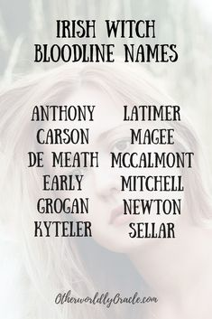 Ancestral Witchcraft: Irish Witch Bloodline Names Writing Promps, Book Writing Tips, Writing Characters, Writing Resources, Creative Writing, Name Inspiration, Writing Inspiration, Unique Names, Cool Names