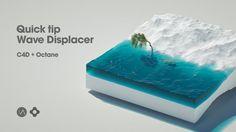 Tips: Creating animated Wave Displacer in Cinema Octane Cinema 4d Tutorial, 3d Tutorial, Blender 3d, Motion Design, Cgi, Cinema 4d Render, 3d Photoshop, Isometric Map, Illustrator