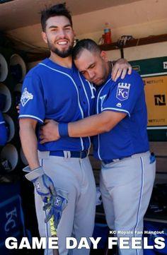 Hosmer and Morales Kc Royals Baseball, Baseball Guys, Kansas City Royals, Baseball Players, Eric Hosmer, Sporting Kansas City, City Pride, Love My Boys, Beige
