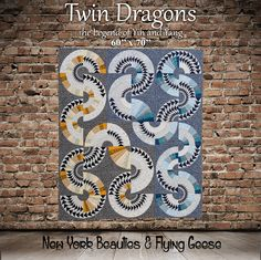 Twin Dragons is the next quilt in the book New York Beauties & Flying Geese. This quilt features fabrics by for and solids by Quilting by Paper Pieced Quilt Patterns, Paper Piecing, Quilting Projects, Quilting Designs, New York Beauty, Quilting Board, Dresden Plate, Contemporary Quilts, Flying Geese