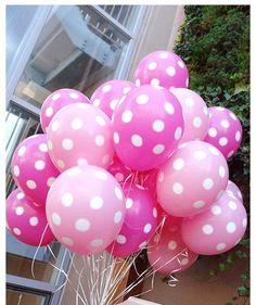 Pink white polka dot balloons
