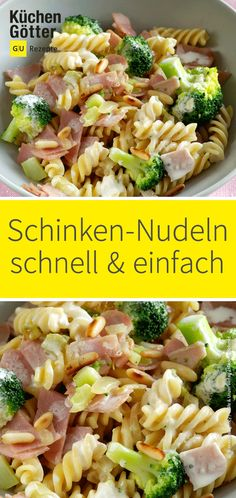 Schinken-Nudeln mit Brokkoli Ham noodles are fast, easy and hearty good! And with broccoli, the tasty dish gets a special treat. Noodle Recipes, Pasta Recipes, Snack Recipes, Tartiflette Recipe, Ham Pasta, Healthy Snacks, Healthy Recipes, Tasty Dishes, Noodles