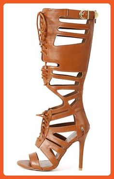 Qupid Ara-09 Rust Lace Up Knee High Gladiator Heel (6) - Sandals for women (*Amazon Partner-Link)