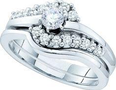 Wedding set 0.50ctw diamond bridal set real Diamond White-gold 14K real new