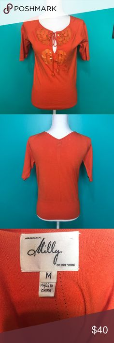 Milly of NY top Orange, like new lightweight sweater like half sleeve shirt. Gorgeous! Milly of New York Tops Tees - Short Sleeve