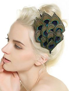 Aukmla Handmade Peacock Feather Headpiece Fascinator Headband for Fancy Party >>> Want to know more, click on the image.
