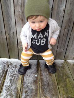 Mustard Yellow & Ivory Cream Stripe Legging Pant Boy or Girl Gender Neutral on Etsy, $14.00