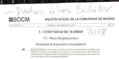 Pruebas Libres Bachiller 2018. Convocatoria de la Comunidad de Madrid. #SIOEP #eduPinto Lps, Math Equations, Summoning, Baccalaureate