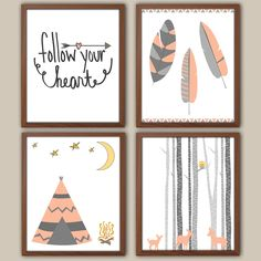 Girls Tribal Nursery Art - Tepee - Feathers - Peach Nursery Decor - Baby Girl Nursery - Set Of 4 Tribal Nursery Art For Girls by iNKYSQUIDKIDS on Etsy https://www.etsy.com/listing/195645520/girls-tribal-nursery-art-tepee-feathers