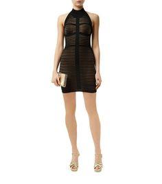 Women: Cocktail Dresses Balmain Sheer Slash Halter Neck Dress