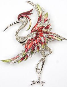 MB Boucher Pave and Metallic Enamel Heron Bird Pin