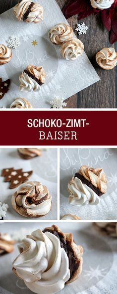 Weihnachtsbäckerei: Rezept für Schoko-Zimt-Baiser / christmas recipes : chocolate baiser with cinnamon via DaWanda.com Baking Cupcakes, Cupcake Recipes, Cookie Recipes, Dessert Recipes, Chocolate Muffins, Chocolate Desserts, Christmas Sweets, Christmas Baking, Cinnamon Recipes