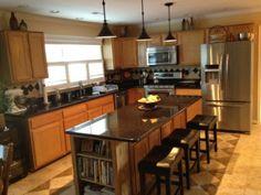 Black Granite Countertops With Oak Cabinets