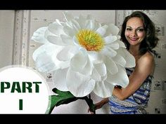 Paper flowers | Free Standing Giant Flower Camomile. Part 1 - YouTube