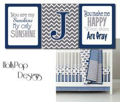 You Are My Sunshine Boy Nursery Decor Make a Splash Personalized Art Prints Chevron Navy Blue Gray wall decor Idea bedroom playroom on Etsy, $37.00