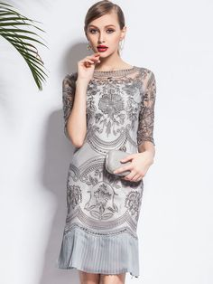 I love the details on this dress, I just wish it were long for your wedding. :(  Embroidered Sheath Mini Dress