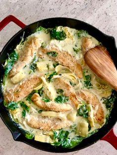 Lemon Artichoke Chicken, Spinach Artichoke Chicken, Creamy Lemon Chicken, Artichoke Recipes, Chicken Spinach Mushroom, Chicken Tenderloin Recipes, Chicken Recipes, Kid Recipes, Cheap Recipes