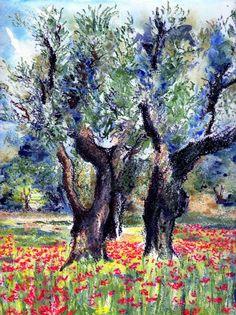 oliviers  | Pastels à l'huile et aquarelle ... - L'Ocre Bleu Oil Pastel Art, Oil Pastels, Pastel Gras, Water Colors, Landscapes, Art Prints, Drawings, Plants, Painting