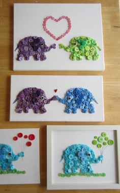 cards with button animals