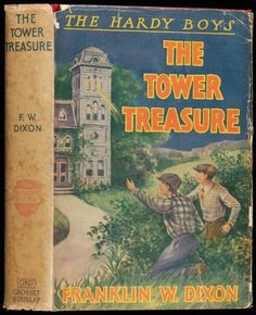 "Tower Treasure (1927). Hardy Boys #1. Franklin W. Dixon. First edition, first printing. Glossy frontispiece by Walter S. Rogers. Red cloth with gold and black lettering, original color pictorial dust jacket. New York, Grosset & Dunlap. Dixon is the pen name used by authors who wrote for the Stratemeyer Syndicate. A dying criminal confesses that his loot has been secreted ""in the tower."" Both towers of the mansion are searched in vain. The Hardy boys make a discovery that clears up the…"