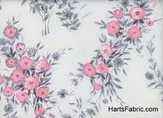 Floral Silk Chiffon Fabric Pink