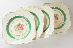 Vintage Adams Antiques Square Salad Plates by RosebudsOriginals