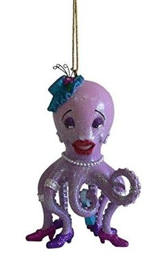 December Diamonds Blue and Pink Octopus Glass Christmas Tree Ornament Sea Life