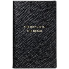 "Smythson ""The Devil is in the Detail"" Wafer Notebook found on Polyvore featuring home, home decor, stationery and black"