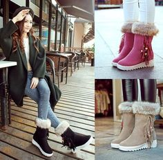 Fun casual winter fur boots for the stylish woman Charming tassels with beads provide a unique look Cotton fur interior keeps your feet warm and cozy Made from velvet Available in 3 colors Cute Casual Shoes, Comfy Shoes, Winter Flats, Winter Snow Boots, Stylish Boots For Women, Fur Boots, Casual Winter, Dress With Boots, Fun