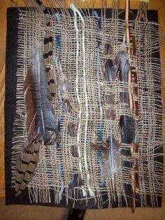 Weaving on burlap~  Art is Basic-- Art Teacher Blog: kindergarten