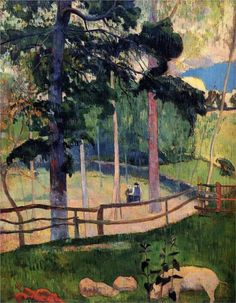 Nostalgic Promenade by Paul Gauguin in oil on canvas, done in Now in a private collection. Find a fine art print of this Paul Gauguin painting. Paul Gauguin, Henri Matisse, Impressionist Artists, French Art, Art Plastique, Vincent Van Gogh, Tahiti, Great Artists, Landscape Paintings