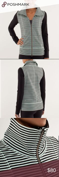Lululemon Daily Yoga Athletic Jacket Mint/black Adorable Lululemon Daily Yoga jacket size 12. Perfect condition except the tag is ripped a bit. Size 12. Mint and black striped with black sleeves. Retails for $128. lululemon athletica Jackets & Coats